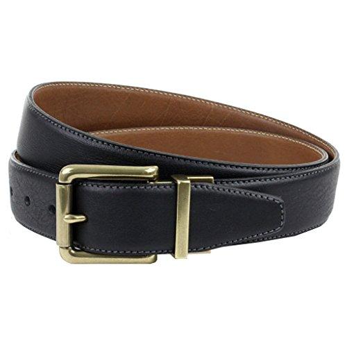 La British cintura Company, da uomo Casual Jeans reversibile vera pelle italiana Cinghia Cintura, realizzato in Inghilterra, 3,5cm Black & Tan 38 Cintura