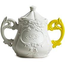 Seletti I ‐ Wares-Zuccheriera con maniglie, in porcellana, colore bianco/giallo, diametro 13 cm, altezza: 15 cm