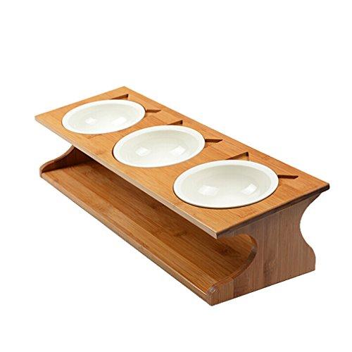 Lh Pet Bowl Rutschfeste Keramik Katze Schüssel Massivholz Katze Schüssel Bambus Rahmen Feeder Hundeschüssel Trinkbrunnen Drei Schüsseln