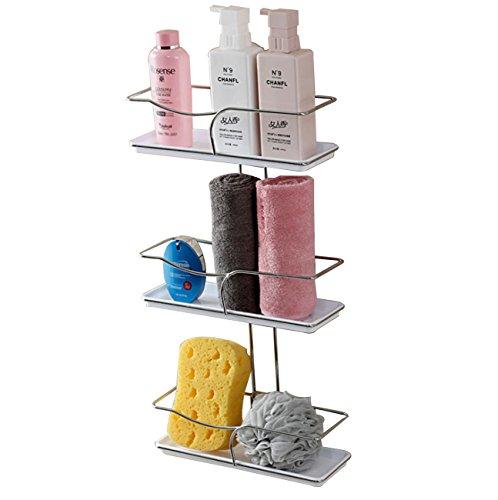 Multifunktionale 3 Tier Wand Montiert Badezimmer Lagerregal Einstellbare Wasserdichte Badezimmer Abfluss Regale Mit Abnehmbarem Tray Bad Küche (30,8 * 10 * 70,6 cm) (Drei Tier-tray)