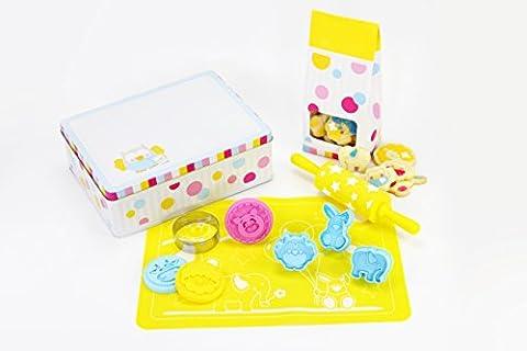 Bezauberndes Set für Kinder zum Plätzchen backen & Ausstechen von gesunden Leckereien - inkl. Kekstempel, Ausstechern, Teigroller uvm. (Ausstecher Weihnachten Geschenk)