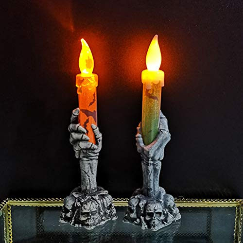 EqWong Candela Fiamma Luce, 2 Pezzi Halloween Scheletro Mano LED Lampada a lume di Candela Lampada a casa Festa Bar Decorazione Impermeabile per Matrimonio Compleanno chiese Festa