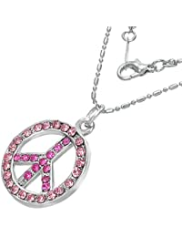 Mode Kristall Friedenszeichen Charm Halskette mit Schmucksteinen - Rosa
