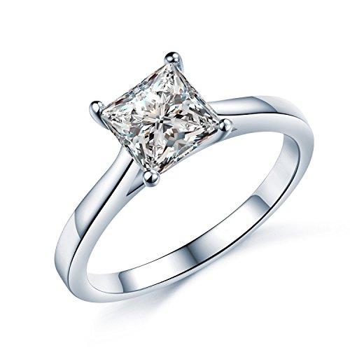 Splendido Anello di fidanzamento, solitario in argento Sterling con diamanti in Zirconia cubica, 6 mm (diametro). Disponibile in tutte le misure, tra G/Z 3, Argento, 13, colore: argento, cod. SF001