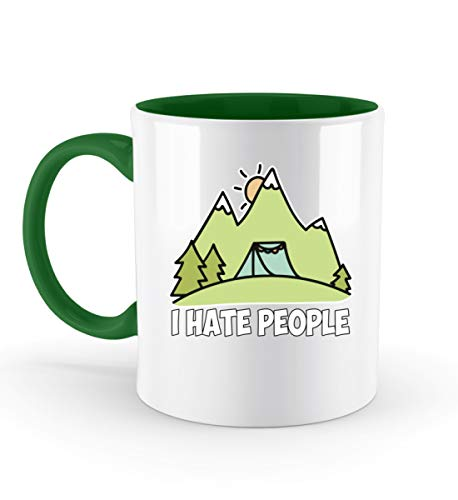 PlimPlom I Hate People Kaffeetasse Ich Hasse Menschen Tasse Camping Spruch Geschenk Idee - Zweifarbige Tasse -330ml-Irish Green