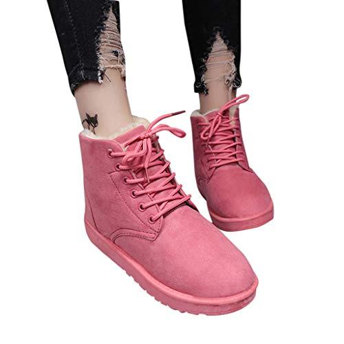Stiefeletten Damen Flache Plattform-runde Zehenschuhe der Frauen Winterstiefel Stiefel Knöchelhoch Boots Baumwollschuhe Warm Gefütterte Schneestiefel Schlupfstiefel
