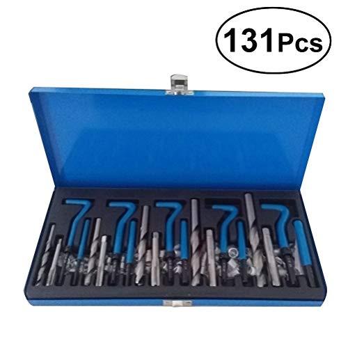 UKCOCO 131pcs metrisches Gewindereparaturset Beschädigter Helicoil-Gewindereparatursatz für Kfz-Reparaturen (blau)