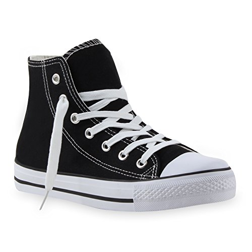 Damen Sneakers Denim Stoff Spitze Sneaker Low Nieten Glitzer Freizeit Damen Turn Schuhe 35330 Schwarz Weiss 38 Flandell