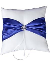 SODIAL(R) Cojin para anillos de bodas (satinado), diseno de lazo, color azul y blanco