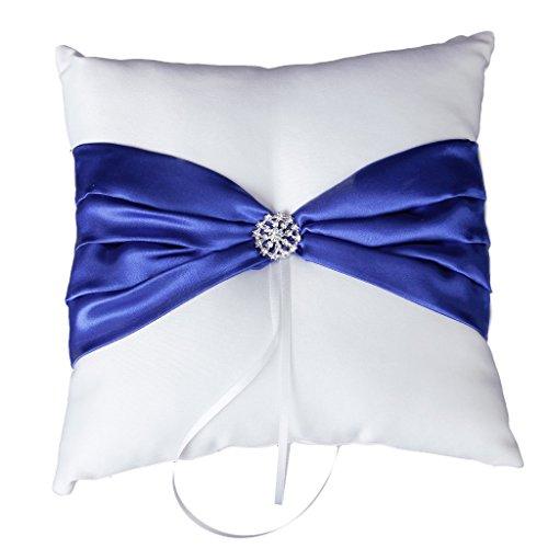 Wedding Ceremony White Satin Ring Bearer Pillow Cushion Royal Blue Ribbon Decor
