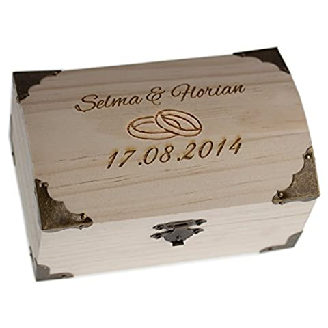 TREASURE CHEST for wedding with engraving - we engrave 2 rings, 2 names and a date - one of the most popular gifts for weddings - wedding gifts, wood, ring motive