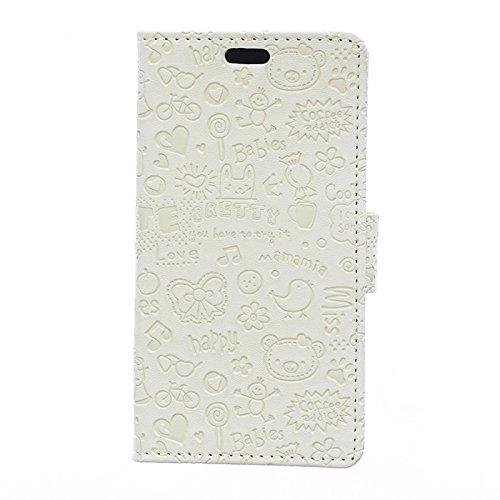 Sunrive Hülle Für DOOGEE X55, Magnetisch Schaltfläche Ledertasche Schutzhülle Case Handyhülle Schalen Handy Tasche Lederhülle(Karikatur Prägung weiß)+Gratis Universal Eingabestift