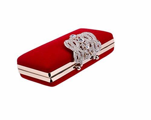 KAFEI Frauen Abend Tasche Diamant feine samt Krone griff All Seasons Event/Party & Abend Club, rot red