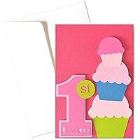 Il mio Primo compleanno - bambina - biglietto d'auguri (formato 15 x 10,5 cm) - vuoto all'interno, ideale per il tuo…