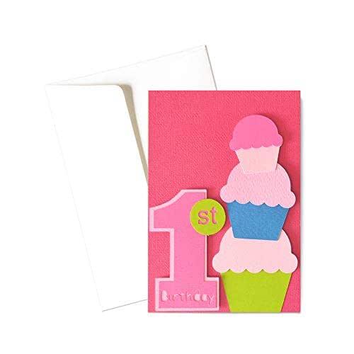 Il mio Primo compleanno - bambina - biglietto d'auguri (formato 15 x 10,5 cm) - vuoto all'interno, ideale per il tuo messaggio personale - realizzato interamente a mano.