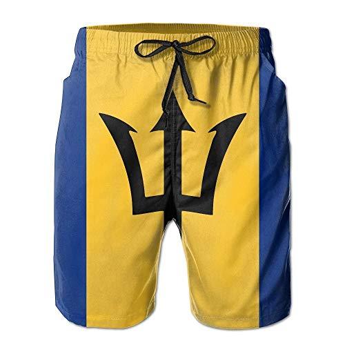 IconSymbol Barbados Restaurant Flag Männer/Jungen Casual Badehose Kurze Strandhose mit elastischer Taille und Taschen - Herren Carpenter Jeans Kurze