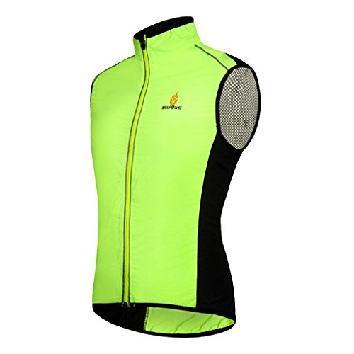 Baoblaze Gilet Cappotto Sportivo Da Running Antivento Riflettente Da Ciclismo Attrezzo - Verde, M