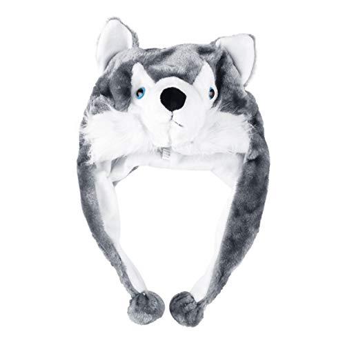 Gugutogo Karikatur-Art-Tier-Hut Wolf Plüsch Kinder wach weiche Kappe Earmuffs Plüsch warmen Schal-Hut, den Huskies Maskottchen Hut (weiß und grau)
