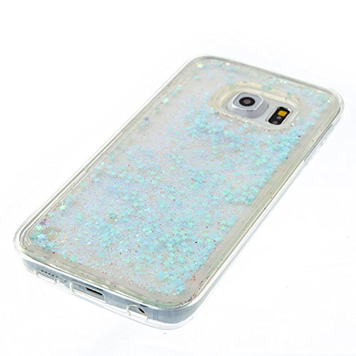 Samsung Galaxy S6 Edge Coque Liquide, Samsung Galaxy S6 Edge Cover Silicone, SainCat Ultra Slim Transparent TPU Silicone Case pour Samsung Galaxy S6 Edge, Anti-Scratch Liquid Crystal Gel Housse Transp Couleur Argent