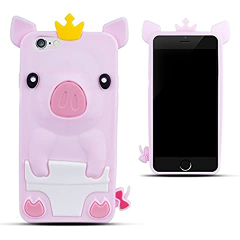 Zooky® Rosa silicona cerdo FUNDA / CARCASA / COVER para Apple iPhone 6 (NO iPhone 6 Plus)