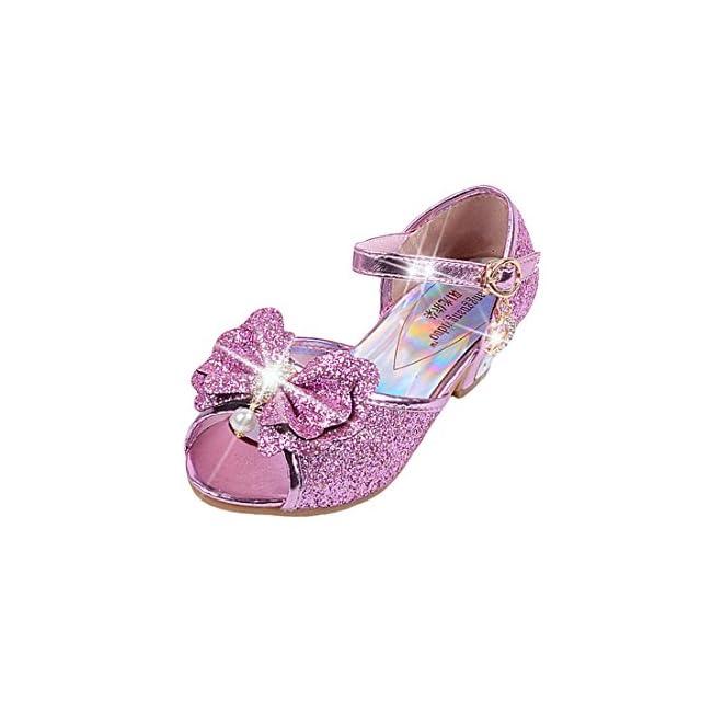Yy.f YYF Fille Sandale Princesse Chaussures a Talon Reine de Neige Belle  avec Pailliettes ... 4f6e4a4ba204