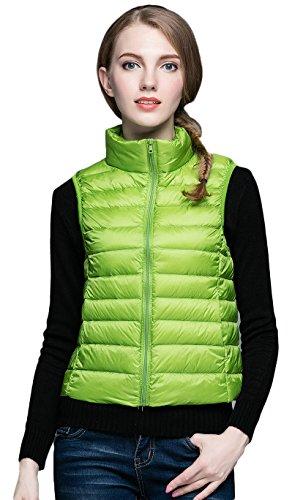 Damen Daunen Weste mit 90% Entendaunen Warm Down Coats Gruen 3XL (Reversible Down Coat)