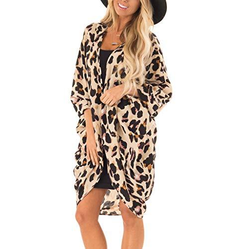 Damen Leopard Sweatshirt, LeeMon Frau Mode Leopardenmuster Mantel Tops Anzug Bikini Bademode Strand Badeanzug Kittel (Leopard Kittel)