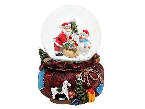 Bella palla di vetro con neve, luci e suoni. disegno: babbo natale e pupazzo di neve, circa 13 x 11,5 cm / Ø 10 cm