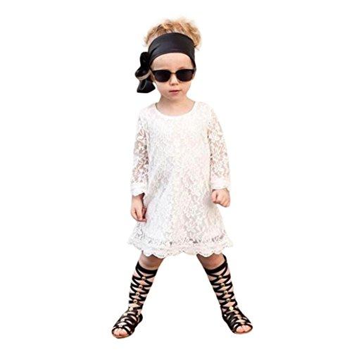 g Mode Kleinkind Kleine Kind Spitze Einfarbig Prinzessin Mädchen Party Kleid Outfits Kleidung Freizeitkleid Spitzenkleid weiß Spitzenkleider Knielang Partykleid (140) ()