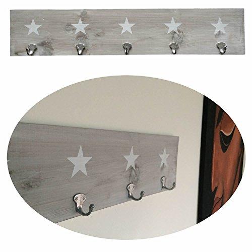 LS-LebenStil Holz Wand-Garderobe 5 Haken Stern 78x16x1,5cm Shabby Grau Weiss -