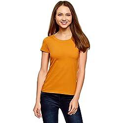 oodji Ultra Mujer Camiseta Básica de Algodón, Naranja, ES 36 / XS