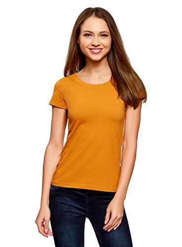Oodji ultra donna t-shirt basic in cotone, arancione, it 44 / eu 40 / m