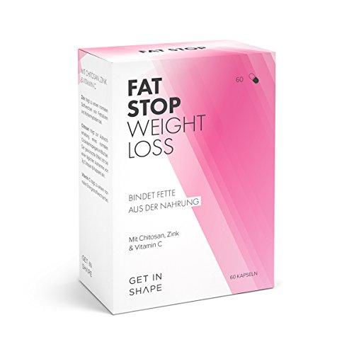 Fat Stop - Fettblocker Kapseln - reduziert Kalorien aus Fett (Chitosan und Vitamin C) - von Get in Shape