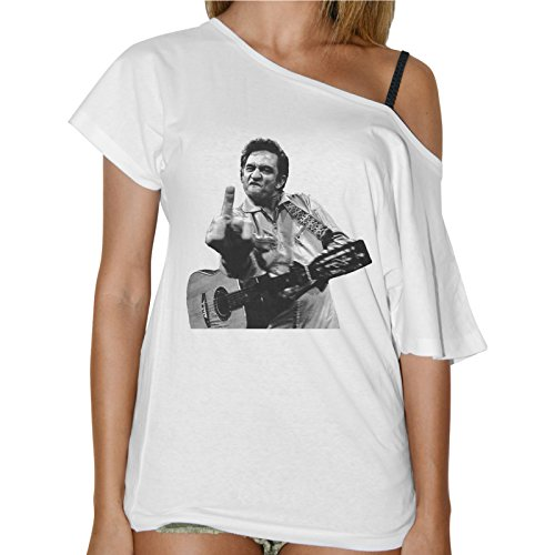 T-Shirt Donna Collo Barca Johnny Cash Chitarra Fuck You - Bianco