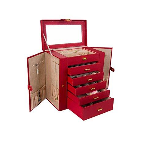 Island Outfitters (Meydlee 6 Schicht große Kapazitäts-Schmuck Truhen Top Leder Schmuck Aufbewahrungsbox Abschließbare Make-up Tasche mit Spiegel und 5 Schieben Schubladen , red)