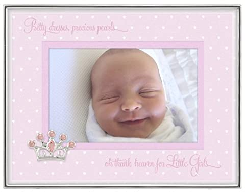 Malden International Designs Baby Sentiments Girl Pink Mat With Silver