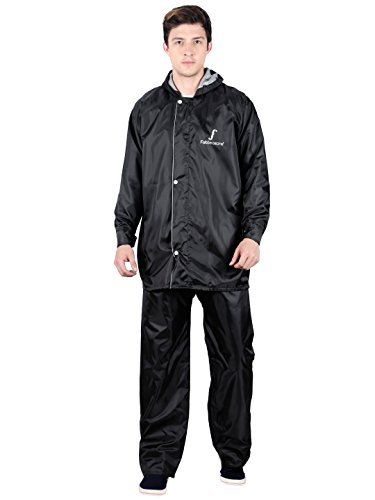 FabSeasons Men's Polyester Raincoat with Adjustable Hood and Reflector(Black, XL) - Pack: Top, Bottom and Storage Bag