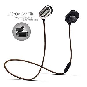 Bluetooth Wireless Kopfhörer, hizek Wireless In-Ear Bluetooth 4.1in Ear-Kopfhörer Wasserdicht mit Wired Control Mikrofon für Running Musik kompatibel mit iPhone 6/6S/6S Plus/5/5S/5C/SE, iPad iPod Touch, Samsung Galaxy S5/S4/S3, HTC, ZTE, Xiaomi, Huawei, Note 3/2, PC, Tablets und andere Android-Smartphones (grau)