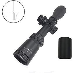 Huntiger 4.5-27x50 Longue portée précision Sniper Scout Longue portée Carabine SFIR Rouge illuminée Tactique de fraisage réticule/w Flip Cover & Parasol Tube Picatinny Dual Scope Mount Ring