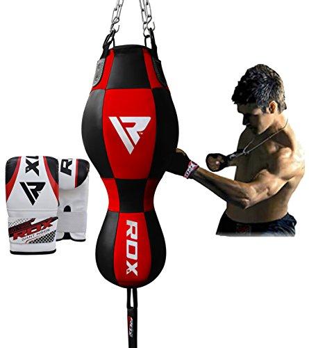 RDX 3 in 1 Boxsack Boxhandschuhe Doppelendball Boxen MMA SackBoxsack Set Kickboxen Sandsack Training Gefüllt Gewicht