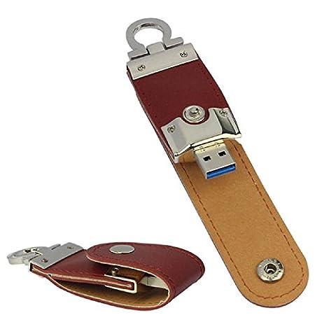 Ukamshop Neue USB3.0 128GB Geschäfts Leder Flash Laufwerk Memory Stick U-Scheibe