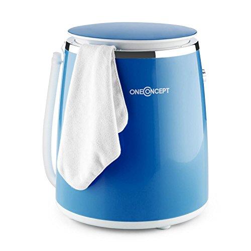 oneConcept Ecowash Pico Waschmaschine Mini-Waschmaschine (380 Watt, 3,5 kg Kapazität, Schleuderfunktion, Timer, Tragegriff) blau