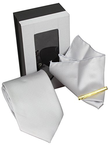 Corbatas Set 4 8,5cm Corbata + Pañuelo + Gemelos + Alfiler de corbata en gris claro