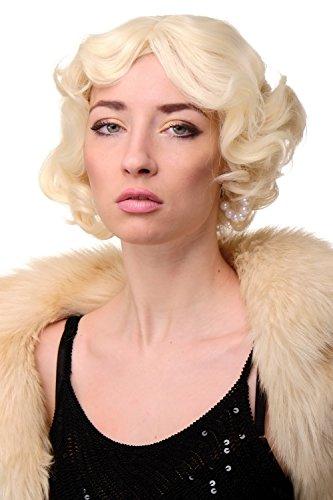 WIG ME UP - Damenperücke Perücke 20er Jahre Swing Bob gewellt Perücke Blond Platinblond ca. 25 cm A4002-613