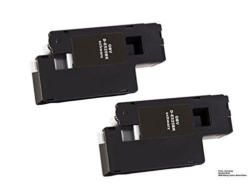 2000 Schwarz Toner (2x kompatibler Toner ersetzt für Dell E525 / E525W / E 525 W / 593-BBLN / H3M8P schwarz 2000 Seiten)