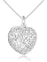 Tuscany Silver Rolokette Mit Anhänger Sterling Silber Geschnitten Gemustert Lufthauch Herz Einstellbar 41cm/16zoll - 46cm/18zoll