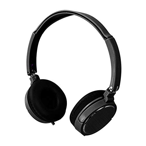 Casque pour écouteurs Poids Léger Casque Filaire Avec Connecteur de 3.5 mm Stéréo Pliable à L'Oreille Headset pas cher (Noir)