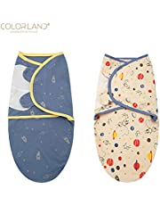 Oren Empower Colorland International Premium Quality Dylan Baby Swaddle Blanket Wrap (Pack of 2, Size - 52cm X 23cm, Material - Cotton, Color - Multi)