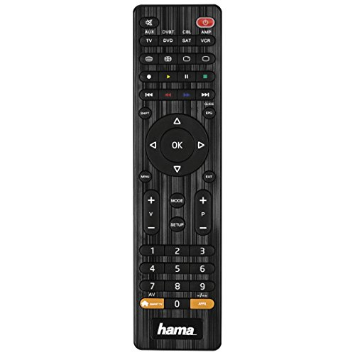 Hama Universal Fernbedienung 8-in-1 Smart TV (bis zu 8 Geräte steuern, über 1000 Marken vorprogrammiert, TV/DVD/VCR/SAT/AUX/DVBT/CBL/AMP) IR Multifunktionsfernbedienung Ersatzfernbedienung, schwarz