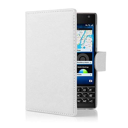 32nd PU Leder Mappen Hülle Flip Case Cover für BlackBerry Passport, Ledertasche hüllen mit Magnetverschluss & Kartensteckplatz - Weiß
